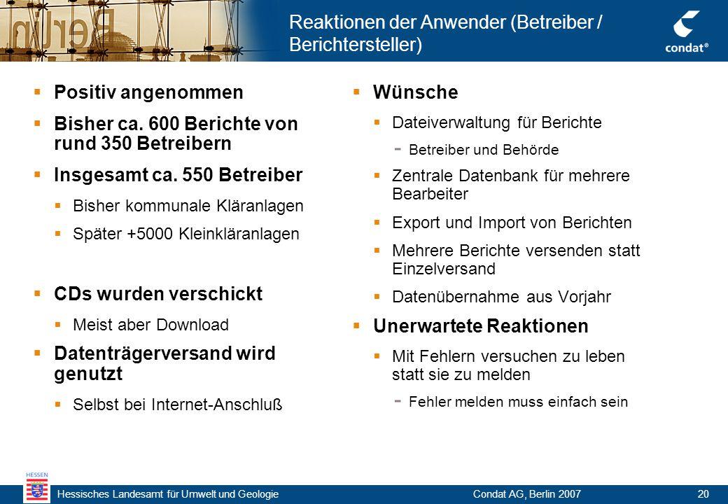 Hessisches Landesamt für Umwelt und Geologie Condat AG, Berlin 200720 Reaktionen der Anwender (Betreiber / Berichtersteller)  Positiv angenommen  Bisher ca.