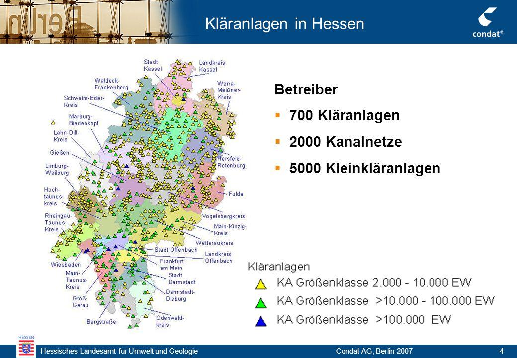 Hessisches Landesamt für Umwelt und Geologie Condat AG, Berlin 20074 Kläranlagen in Hessen Betreiber  700 Kläranlagen  2000 Kanalnetze  5000 Kleinkläranlagen