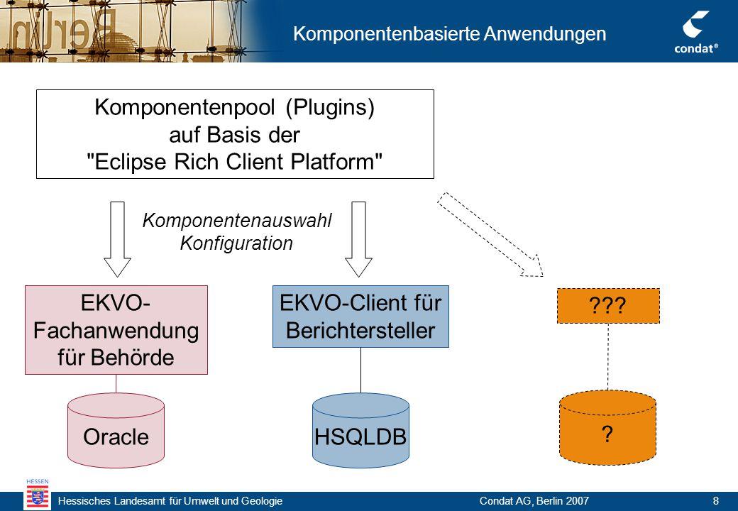 Hessisches Landesamt für Umwelt und Geologie Condat AG, Berlin 20078 Komponentenbasierte Anwendungen Komponentenpool (Plugins) auf Basis der Eclipse Rich Client Platform EKVO- Fachanwendung für Behörde Oracle EKVO-Client für Berichtersteller HSQLDB ??.