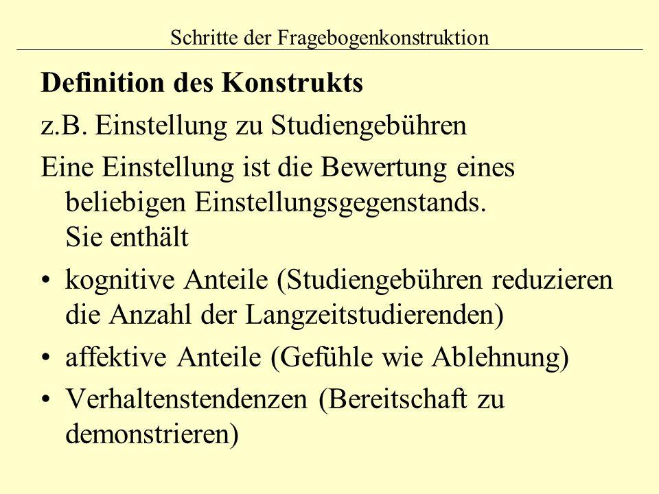 Schritte der Fragebogenkonstruktion Definition des Konstrukts z.B.