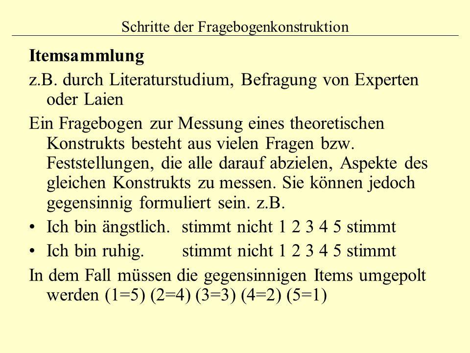 Schritte der Fragebogenkonstruktion Itemsammlung z.B.
