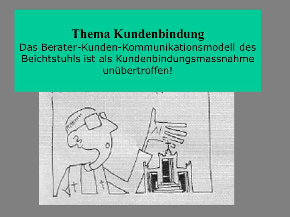 Thema Kundenbindung Das Berater-Kunden-Kommunikationsmodell des Beichtstuhls ist als Kundenbindungsmassnahme unübertroffen!