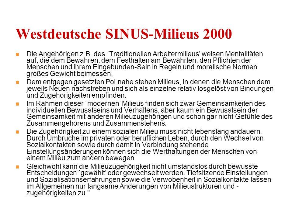 Westdeutsche SINUS-Milieus 2000 Die Angehörigen z.B.
