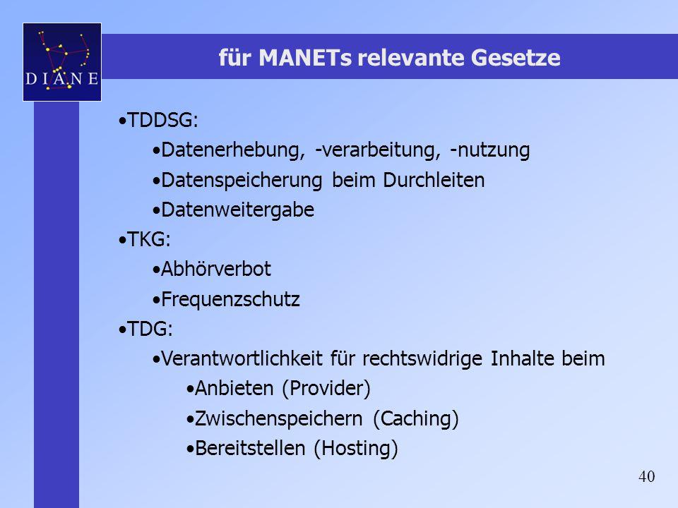 40 für MANETs relevante Gesetze TDDSG: Datenerhebung, -verarbeitung, -nutzung Datenspeicherung beim Durchleiten Datenweitergabe TKG: Abhörverbot Frequ