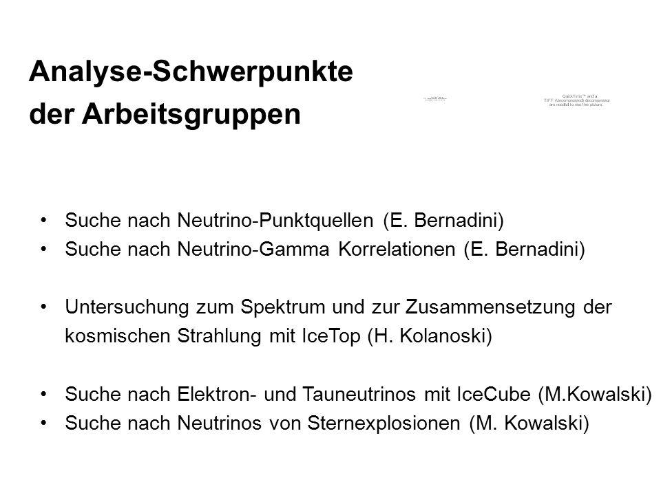 Analyse-Schwerpunkte der Arbeitsgruppen Suche nach Neutrino-Punktquellen (E. Bernadini) Suche nach Neutrino-Gamma Korrelationen (E. Bernadini) Untersu