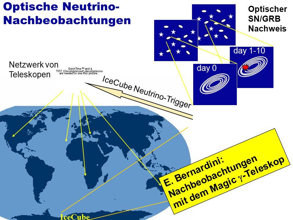 IceCube IceCube Neutrino-Trigger day 0 day 1-10 Netzwerk von Teleskopen Optischer SN/GRB Nachweis Optische Neutrino- Nachbeobachtungen E. Bernardini: