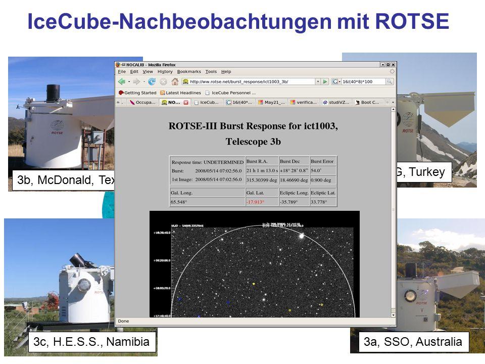 the Sun never rises over the ROTSE empire 3a, SSO, Australia 3d, TUG, Turkey 3c, H.E.S.S., Namibia 3b, McDonald, Texas IceCube-Nachbeobachtungen mit R