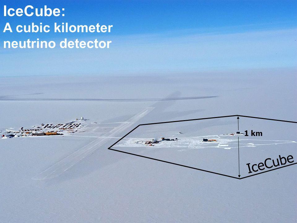 IceCube 1 km IceCube: A cubic kilometer neutrino detector IceCube 2008 (2011): - 40 (80) Strings - 2400 (4800) Sensoren - 0,5 (1) km 3 IceTop zum Nachweis von Luftschauern