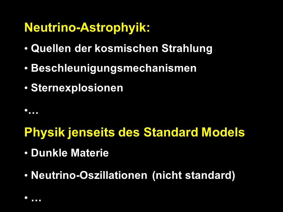 Neutrino-Astrophyik: Quellen der kosmischen Strahlung Beschleunigungsmechanismen Sternexplosionen … Physik jenseits des Standard Models Dunkle Materie