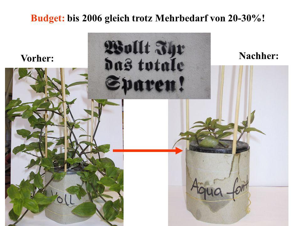 Vorher: Nachher: Budget: bis 2006 gleich trotz Mehrbedarf von 20-30%!