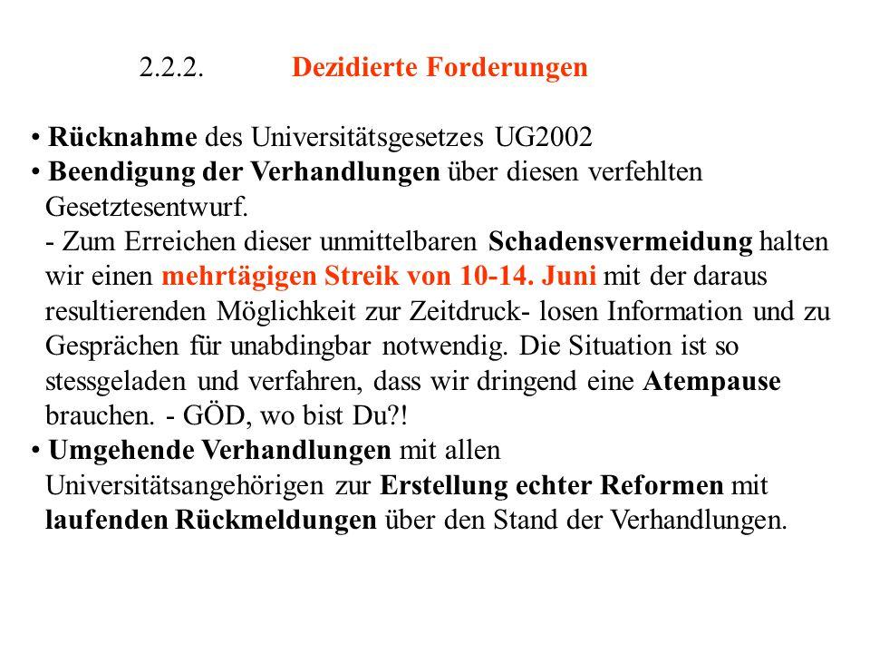 2.2.2.Dezidierte Forderungen Rücknahme des Universitätsgesetzes UG2002 Beendigung der Verhandlungen über diesen verfehlten Gesetztesentwurf.