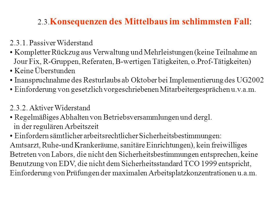 2.3. Konsequenzen des Mittelbaus im schlimmsten Fall: 2.3.1.