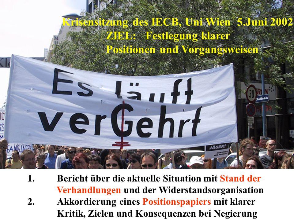 1.Bericht über die aktuelle Situation mit Stand der Verhandlungen und der Widerstandsorganisation 2.