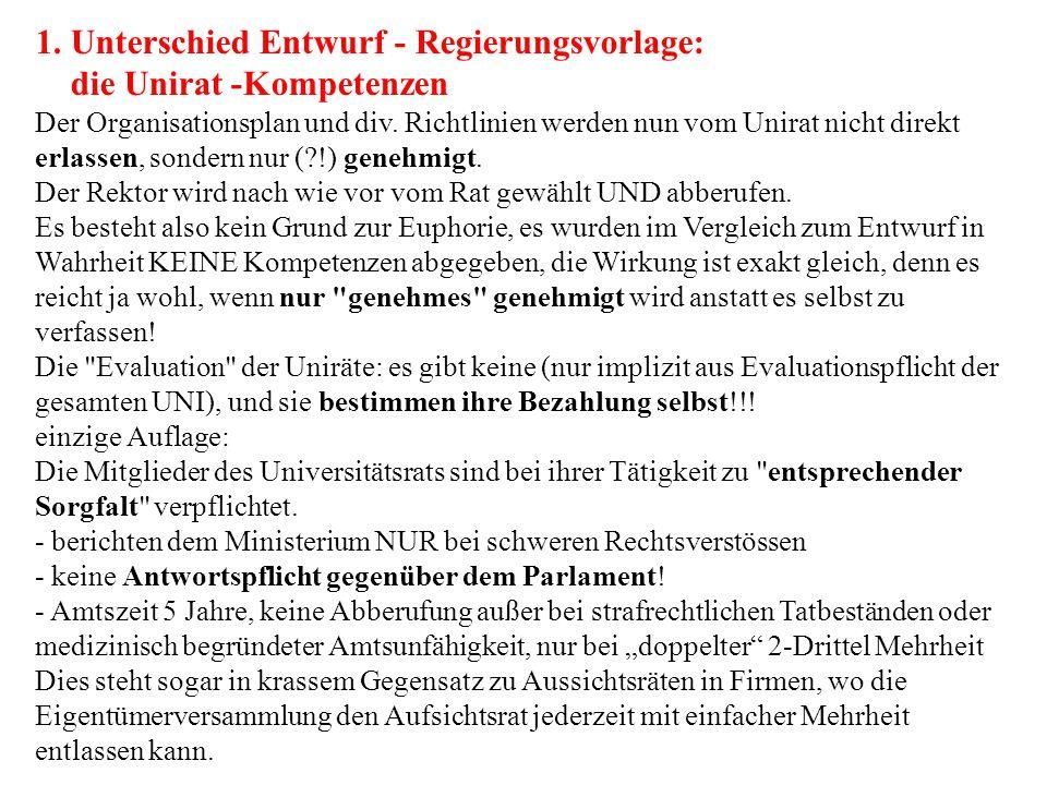1. Unterschied Entwurf - Regierungsvorlage: die Unirat -Kompetenzen Der Organisationsplan und div.