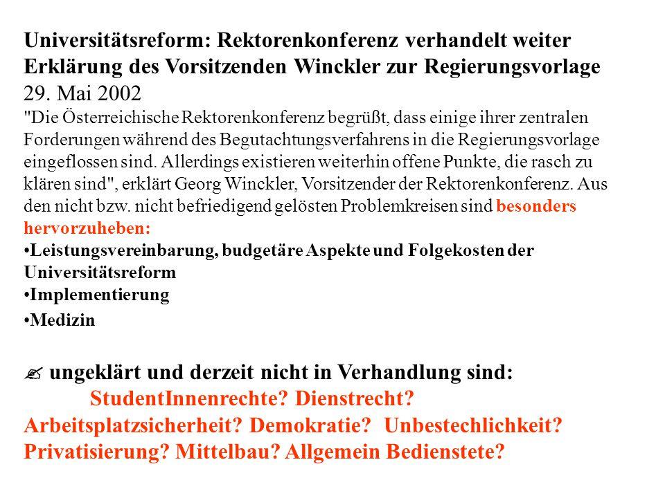 Universitätsreform: Rektorenkonferenz verhandelt weiter Erklärung des Vorsitzenden Winckler zur Regierungsvorlage 29.