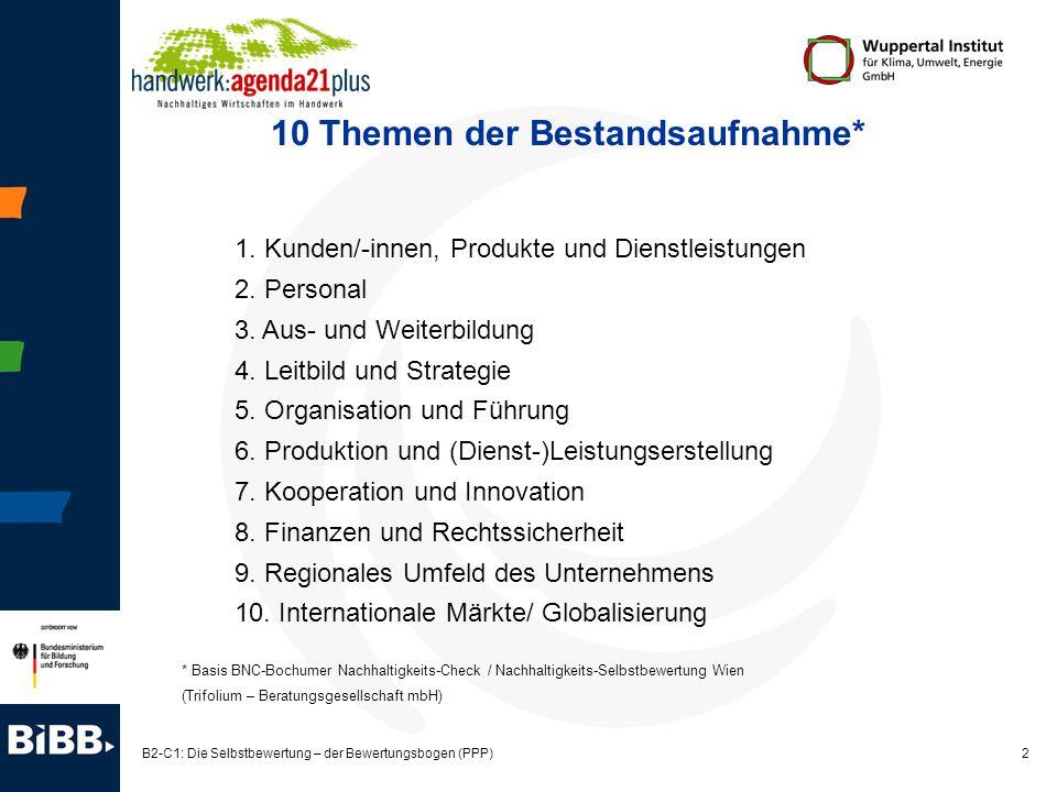 2 B2-C1: Die Selbstbewertung – der Bewertungsbogen (PPP) 10 Themen der Bestandsaufnahme* 1. Kunden/-innen, Produkte und Dienstleistungen 2. Personal 3