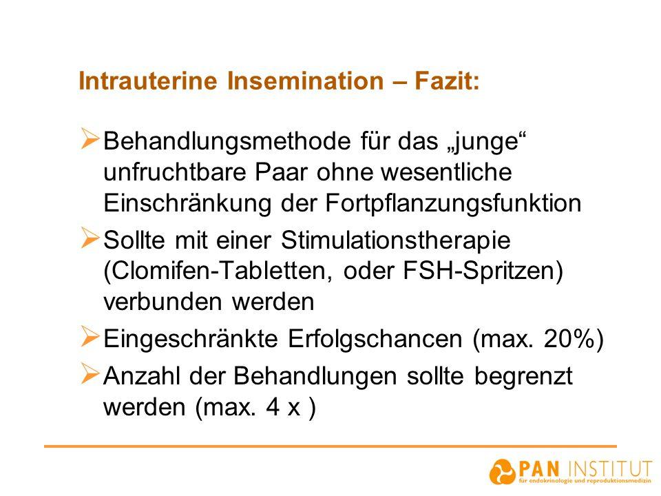 """Intrauterine Insemination – Fazit:  Behandlungsmethode für das """"junge"""" unfruchtbare Paar ohne wesentliche Einschränkung der Fortpflanzungsfunktion """