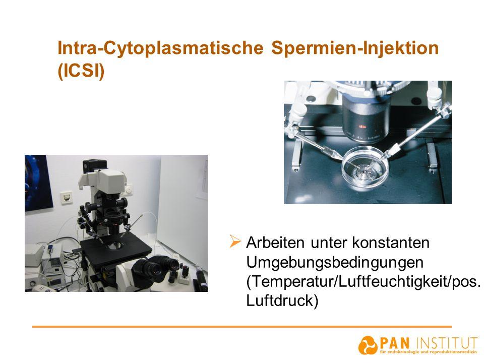 Intra-Cytoplasmatische Spermien-Injektion (ICSI)  Arbeiten unter konstanten Umgebungsbedingungen (Temperatur/Luftfeuchtigkeit/pos. Luftdruck)