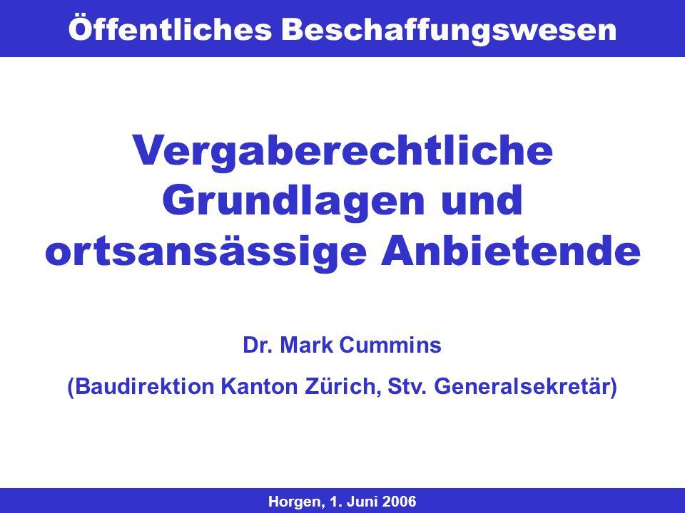 Öffentliches Beschaffungswesen © 2006 Baudirektion Kanton Zürich, Generalsekretariat / StabDr. Mark Cummins / Dr. Herbert Lang Horgen, 1. Juni 2006 Ve