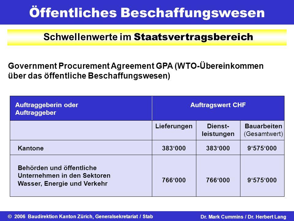 Öffentliches Beschaffungswesen © 2006 Baudirektion Kanton Zürich, Generalsekretariat / StabDr. Mark Cummins / Dr. Herbert Lang Government Procurement