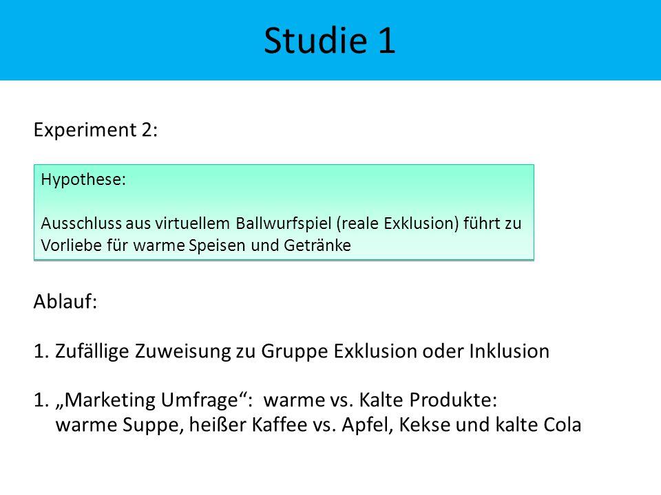 """Studie 1 Experiment 2: Ablauf: 1.Zufällige Zuweisung zu Gruppe Exklusion oder Inklusion 1.""""Marketing Umfrage"""": warme vs. Kalte Produkte: warme Suppe,"""