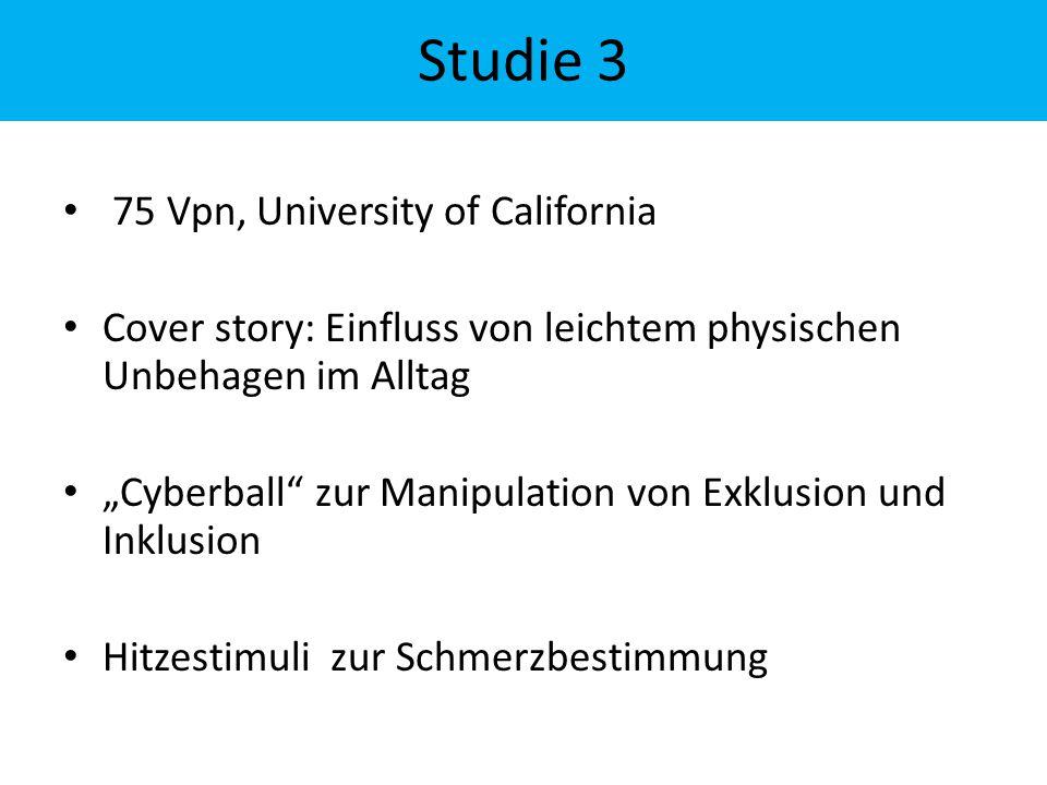 """75 Vpn, University of California Cover story: Einfluss von leichtem physischen Unbehagen im Alltag """"Cyberball"""" zur Manipulation von Exklusion und Inkl"""