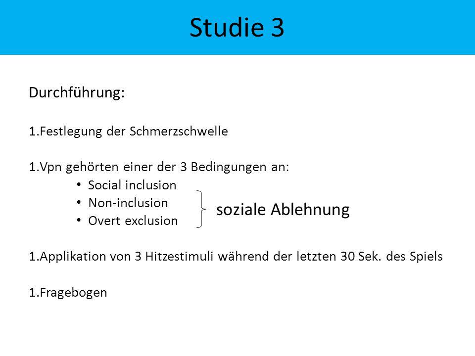 Durchführung: 1.Festlegung der Schmerzschwelle 1.Vpn gehörten einer der 3 Bedingungen an: Social inclusion Non-inclusion Overt exclusion 1.Applikation