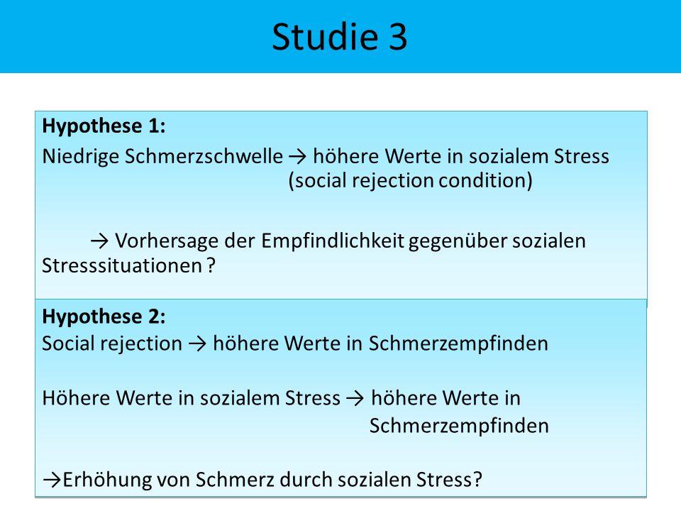Hypothese 1: Niedrige Schmerzschwelle → höhere Werte in sozialem Stress (social rejection condition) → Vorhersage der Empfindlichkeit gegenüber sozialen Stresssituationen .