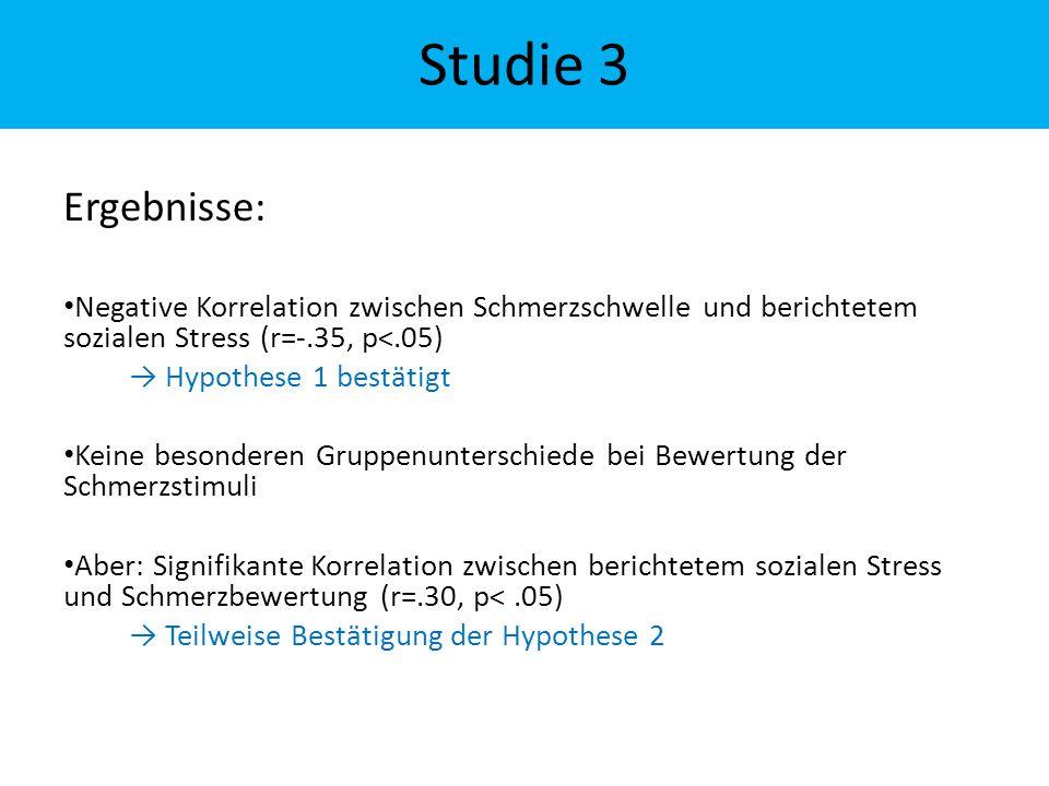 Ergebnisse: Negative Korrelation zwischen Schmerzschwelle und berichtetem sozialen Stress (r=-.35, p<.05) → Hypothese 1 bestätigt Keine besonderen Gru
