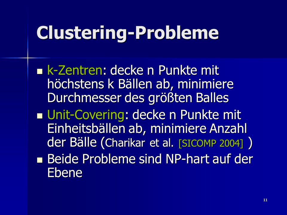 11 Clustering-Probleme k-Zentren: decke n Punkte mit höchstens k Bällen ab, minimiere Durchmesser des größten Balles k-Zentren: decke n Punkte mit höchstens k Bällen ab, minimiere Durchmesser des größten Balles Unit-Covering: decke n Punkte mit Einheitsbällen ab, minimiere Anzahl der Bälle ( Charikar et al.