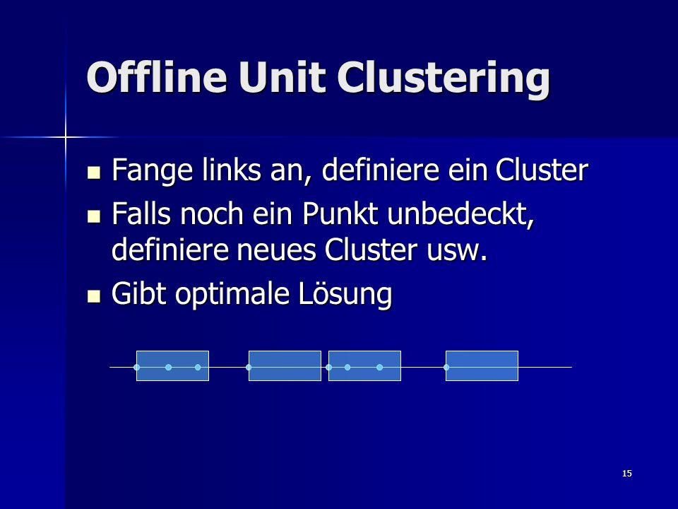 15 Offline Unit Clustering Fange links an, definiere ein Cluster Fange links an, definiere ein Cluster Falls noch ein Punkt unbedeckt, definiere neues Cluster usw.