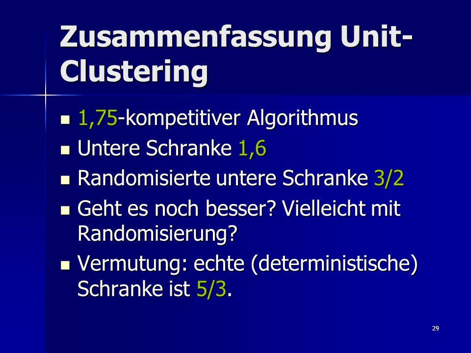 29 Zusammenfassung Unit- Clustering 1,75-kompetitiver Algorithmus 1,75-kompetitiver Algorithmus Untere Schranke 1,6 Untere Schranke 1,6 Randomisierte untere Schranke 3/2 Randomisierte untere Schranke 3/2 Geht es noch besser.