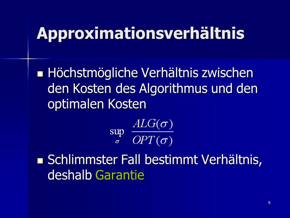 5 Approximationsverhältnis Höchstmögliche Verhältnis zwischen den Kosten des Algorithmus und den optimalen Kosten Höchstmögliche Verhältnis zwischen den Kosten des Algorithmus und den optimalen Kosten Schlimmster Fall bestimmt Verhältnis, deshalb Garantie Schlimmster Fall bestimmt Verhältnis, deshalb Garantie