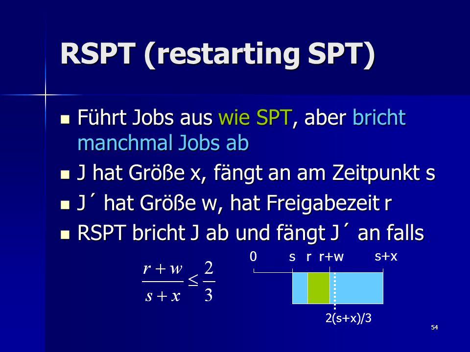 54 RSPT (restarting SPT) Führt Jobs aus wie SPT, aber bricht manchmal Jobs ab Führt Jobs aus wie SPT, aber bricht manchmal Jobs ab J hat Größe x, fängt an am Zeitpunkt s J hat Größe x, fängt an am Zeitpunkt s J´ hat Größe w, hat Freigabezeit r J´ hat Größe w, hat Freigabezeit r RSPT bricht J ab und fängt J´ an falls RSPT bricht J ab und fängt J´ an falls s+x r r+w 2(s+x)/3 0 s