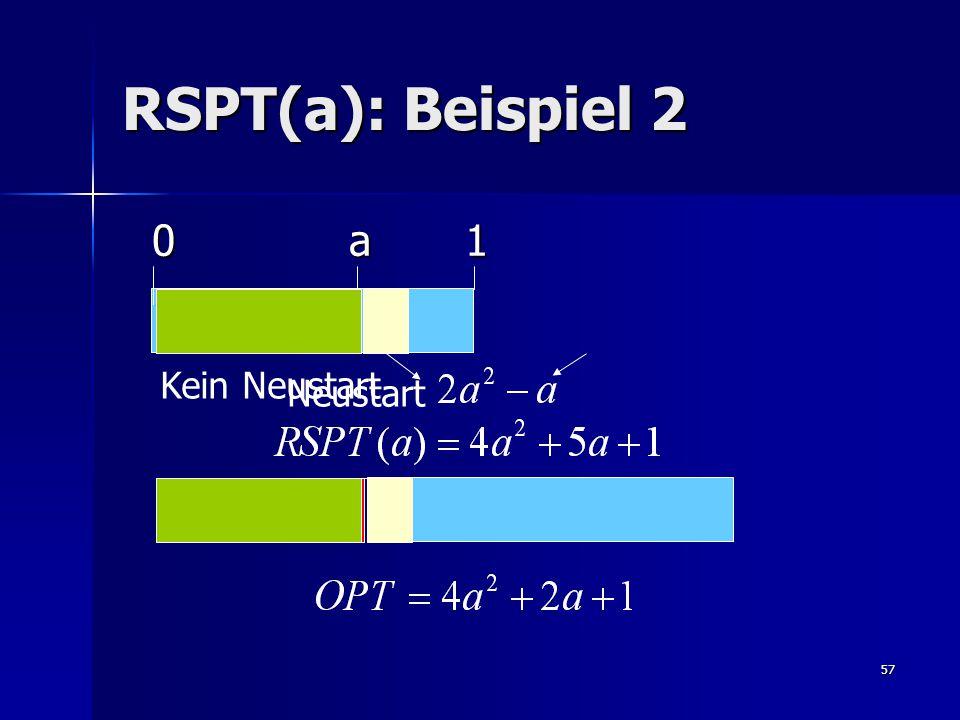 57 RSPT(a): Beispiel 2 0 a 1 0 a 1 Kein Neustart Neustart
