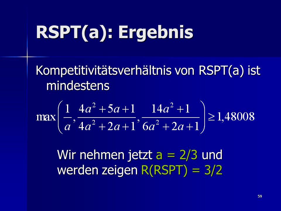 59 RSPT(a): Ergebnis Kompetitivitätsverhältnis von RSPT(a) ist mindestens Wir nehmen jetzt a = 2/3 und werden zeigen R(RSPT) = 3/2