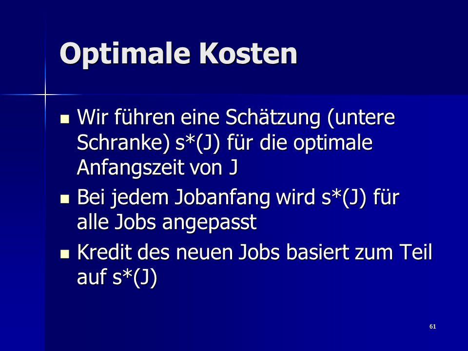 61 Optimale Kosten Wir führen eine Schätzung (untere Schranke) s*(J) für die optimale Anfangszeit von J Wir führen eine Schätzung (untere Schranke) s*(J) für die optimale Anfangszeit von J Bei jedem Jobanfang wird s*(J) für alle Jobs angepasst Bei jedem Jobanfang wird s*(J) für alle Jobs angepasst Kredit des neuen Jobs basiert zum Teil auf s*(J) Kredit des neuen Jobs basiert zum Teil auf s*(J)