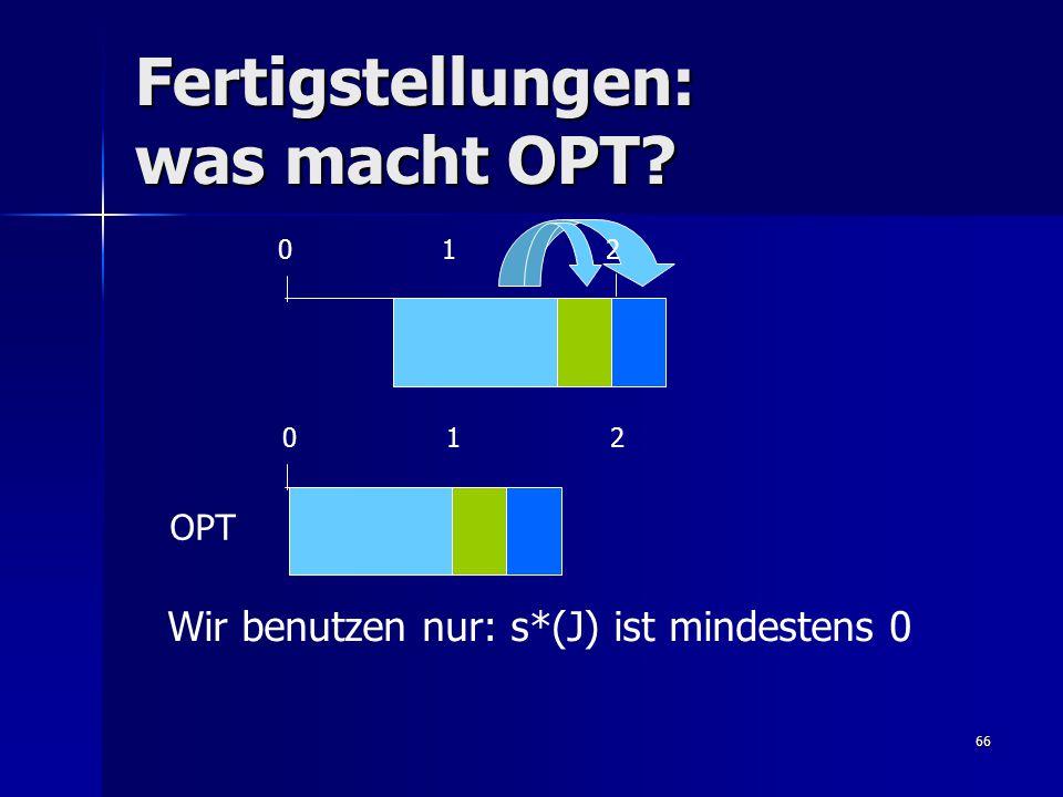 66 Fertigstellungen: was macht OPT 0 1 2 OPT Wir benutzen nur: s*(J) ist mindestens 0