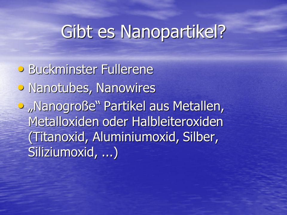 """Gibt es Nanopartikel? Buckminster Fullerene Buckminster Fullerene Nanotubes, Nanowires Nanotubes, Nanowires """"Nanogroße"""" Partikel aus Metallen, Metallo"""