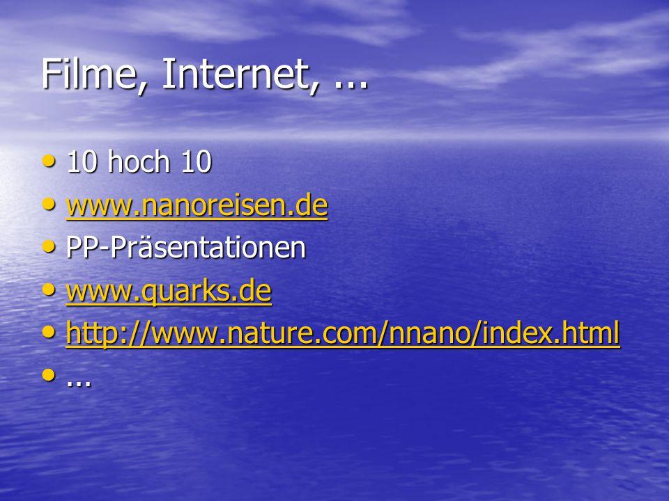 Filme, Internet,... 10 hoch 10 10 hoch 10 www.nanoreisen.de www.nanoreisen.de www.nanoreisen.de PP-Präsentationen PP-Präsentationen www.quarks.de www.