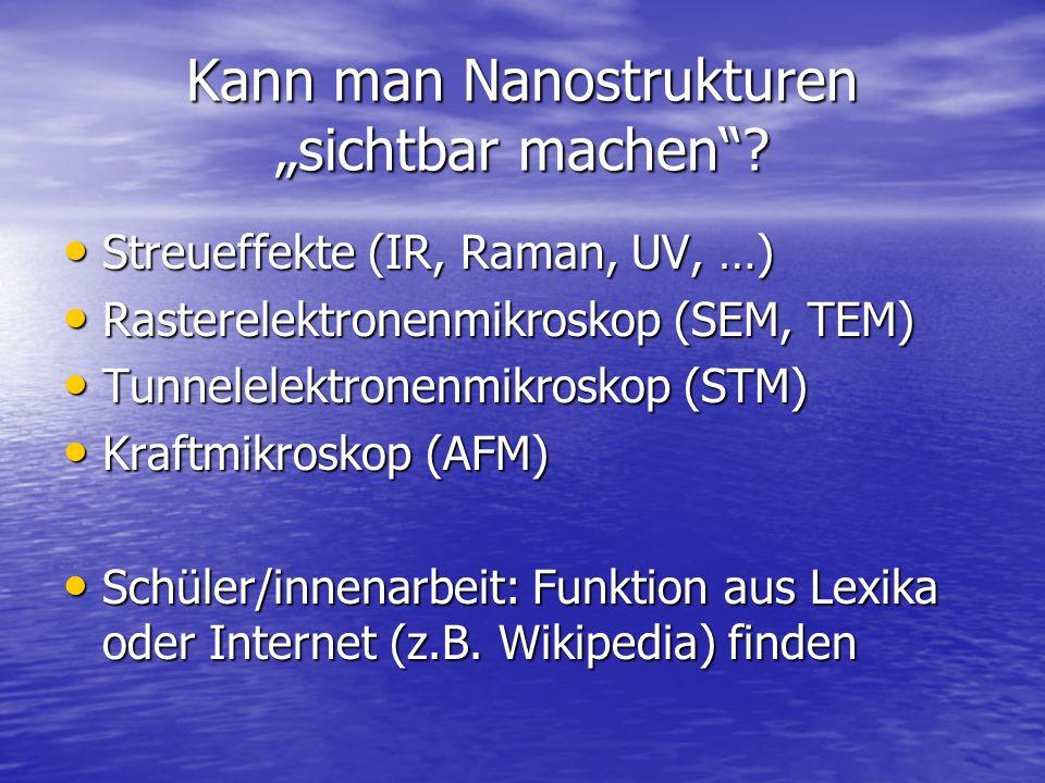 """Kann man Nanostrukturen """"sichtbar machen""""? Streueffekte (IR, Raman, UV, …) Streueffekte (IR, Raman, UV, …) Rasterelektronenmikroskop (SEM, TEM) Raster"""