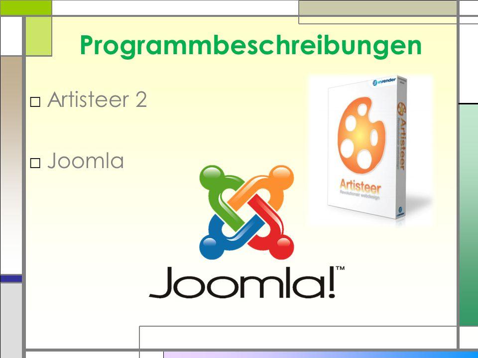 Programmbeschreibungen □Artisteer 2 □Joomla