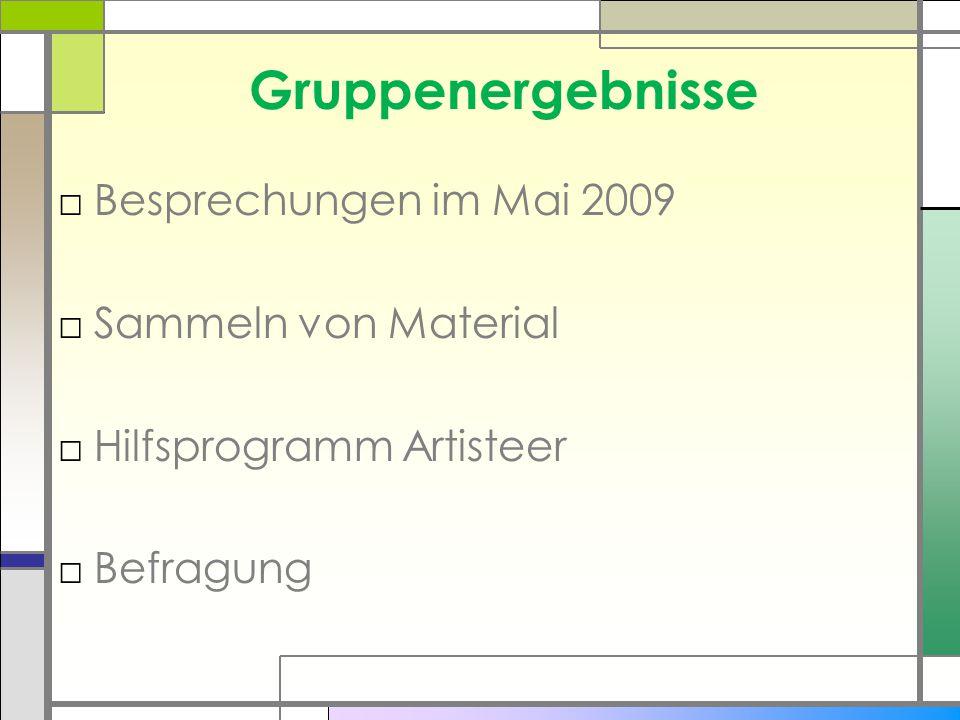 Gruppenergebnisse □Besprechungen im Mai 2009 □Sammeln von Material □Hilfsprogramm Artisteer □Befragung