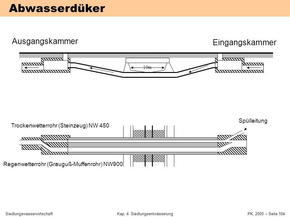 SiedlungswasserwirtschaftKap. 4 Siedlungsentwässerung PK, 2005 – Seite 103 4.6 Sonderbauwerke und Hausanschlüsse 4 Siedlungsentwässerung