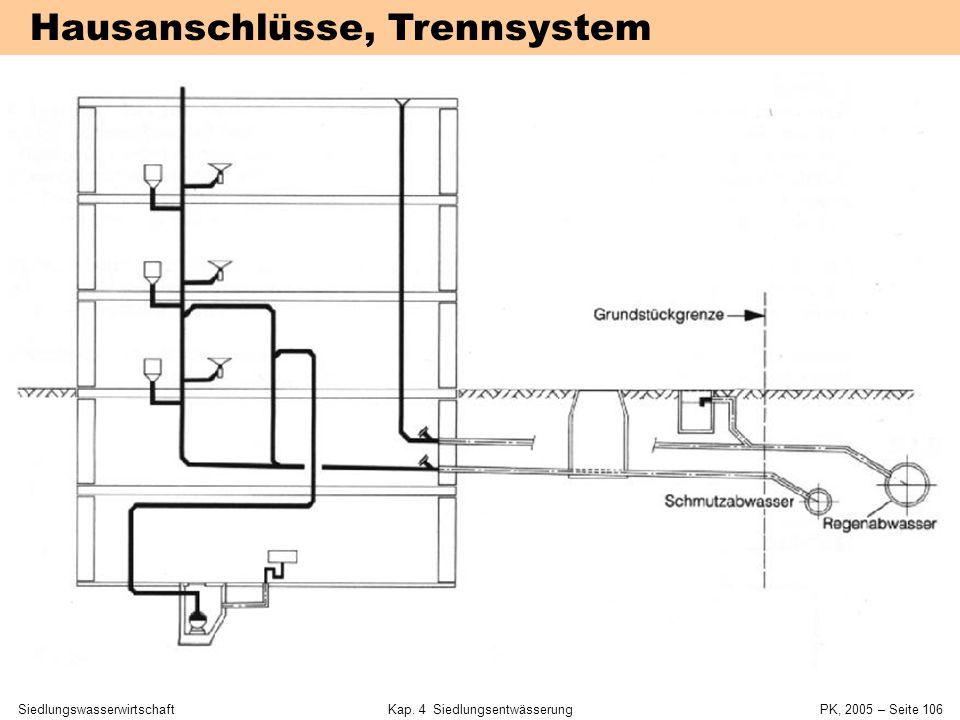 SiedlungswasserwirtschaftKap. 4 Siedlungsentwässerung PK, 2005 – Seite 105 Hausanschlüsse, Mischsystem