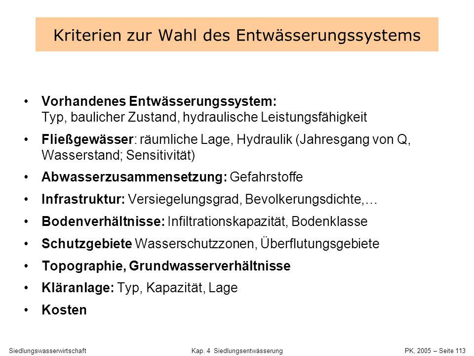SiedlungswasserwirtschaftKap. 4 Siedlungsentwässerung PK, 2005 – Seite 112 Schritte der Entwurfsbearbeitung 1.Wahl des Entwässerungssystems(A 105) 2.A