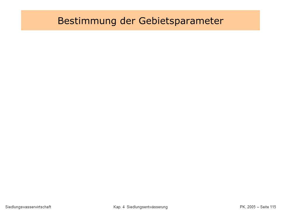 SiedlungswasserwirtschaftKap. 4 Siedlungsentwässerung PK, 2005 – Seite 114 Abstimmung des Entwässerungskonzepts Zulässige Belastung des Fließgewässers