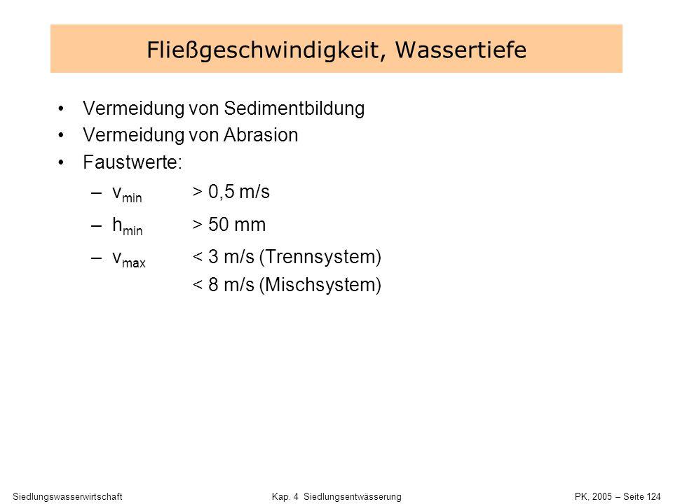 SiedlungswasserwirtschaftKap. 4 Siedlungsentwässerung PK, 2005 – Seite 123 Querschnitt123456Bem. L Kanal (m)12018060180 v (m/s)1111 Fließzeit (min)231