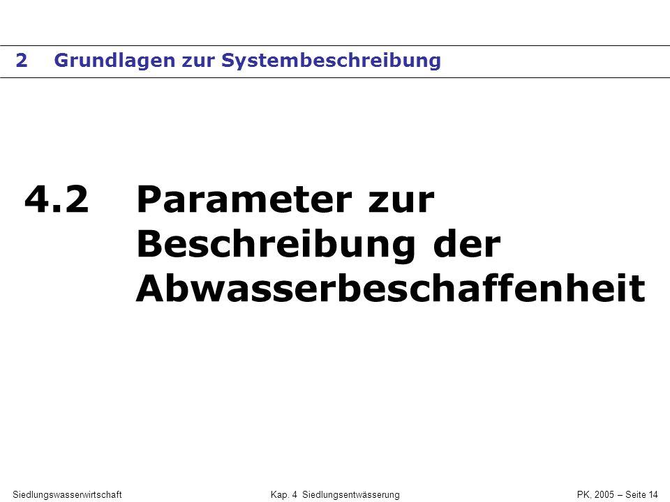 SiedlungswasserwirtschaftKap. 4 Siedlungsentwässerung PK, 2005 – Seite 13 Beispiel: Abwasseranteile in KA-Zulauf