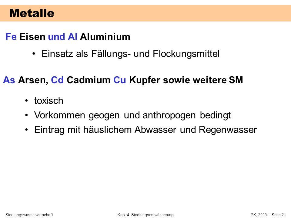 SiedlungswasserwirtschaftKap. 4 Siedlungsentwässerung PK, 2005 – Seite 20 Kohlenstoff und Phosphor TOC totaler organischer Kohlenstoff DOC gelöster or